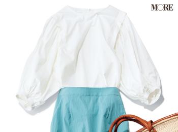 スカートのきれい色で夏の白を引き立てて。かごバッグとトングサンダルで軽やかな着回し29日目