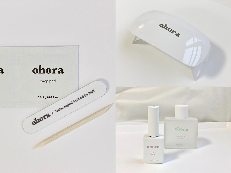 ohoraにはシートと一緒に爪の油分を拭き取るプレップパッドとネイルファイルと除去する時に使うウッドスティック(写真左)が同封されています