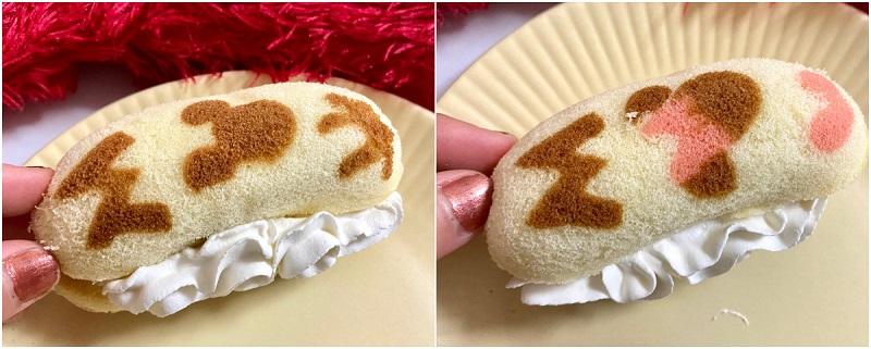 「Disney SWEETS COLLECTION by 東京ばな奈」の看板商品「ミッキー&フレンズ/東京ばな奈『見ぃつけたっ』」をマリトッツォ風にアレンジした様子