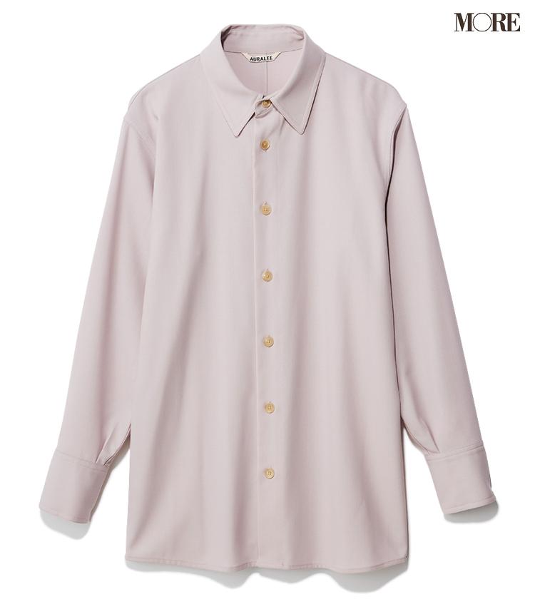 メンズライクなシャツとパンツをラベンダー色で