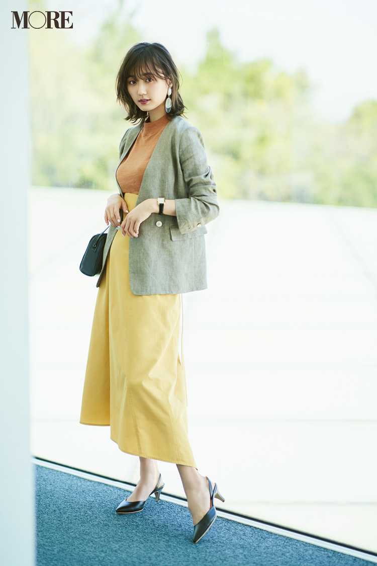 【今日のコーデ】連休前にしっかりお仕事。イエローのスカート+美人なストラップ靴できれいめ気分を高めて! <鈴木友菜>_1