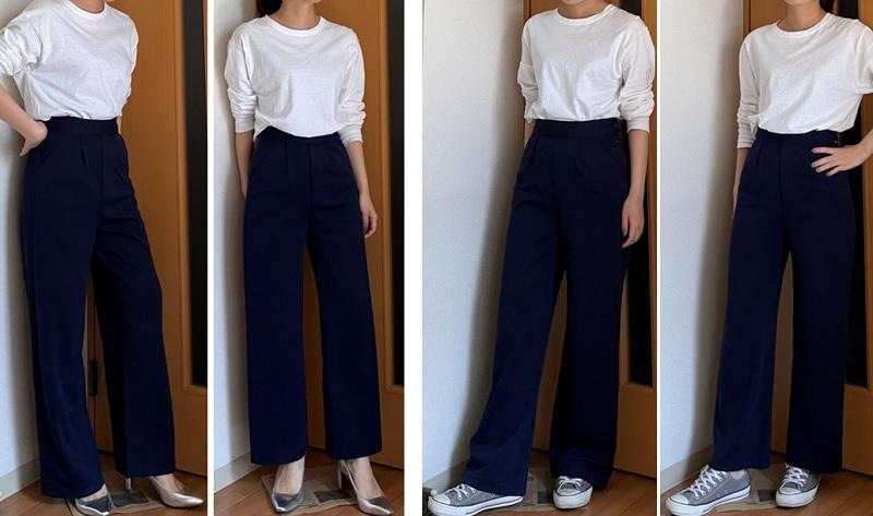 神戸レタス、ネイビーのパンツ。SとMサイズ履き比べ