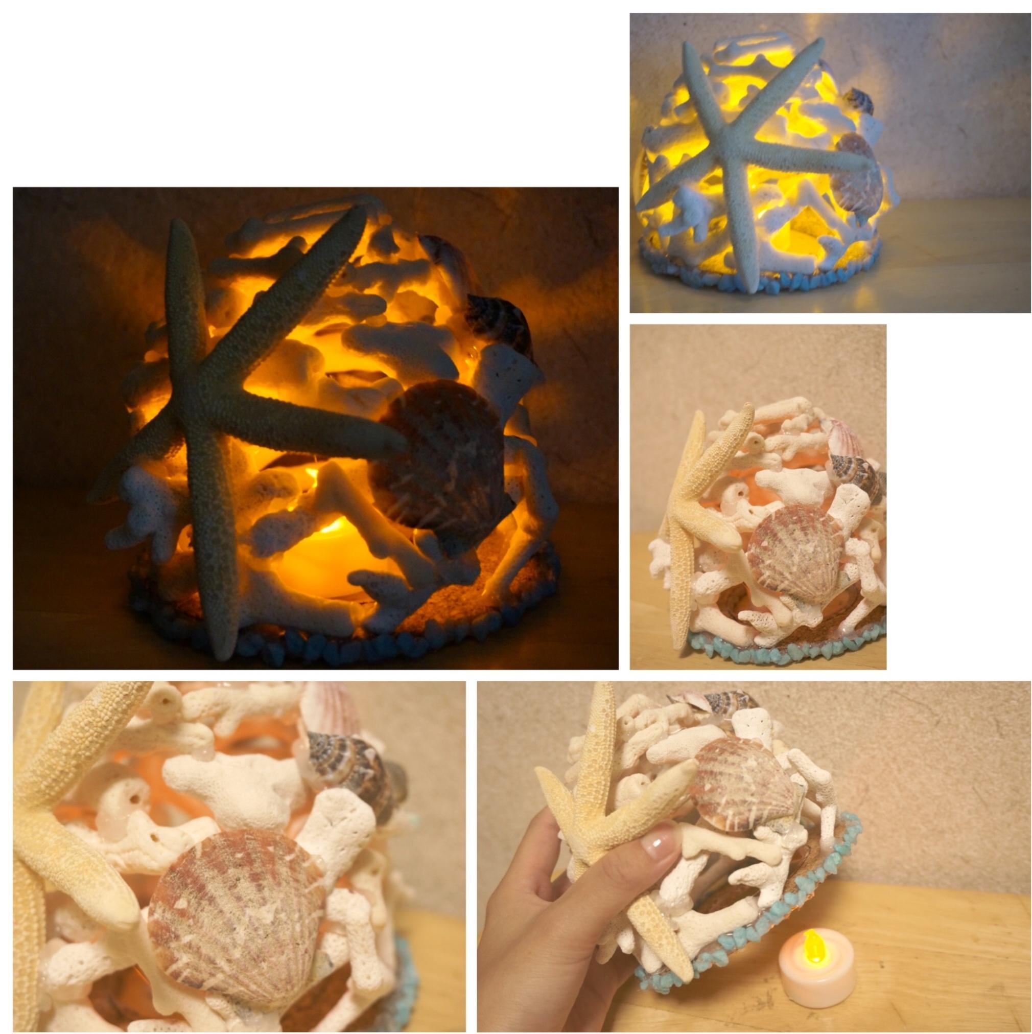 【ハンドメイド講座】大人の自由研究( ´艸`)⁉️枝珊瑚で作る夏物ランプシェード♡_9