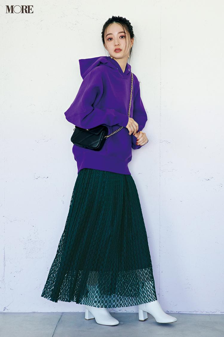 【今日のコーデ】<逢沢りな>ライブに行く日はレーススカート+さし色フーディで美女っぽモードが気分☆_1