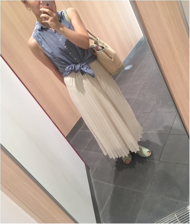 【Fashion】ユニクロのロングスカート×アースのノースリーブシャツで涼しげコーデ_3