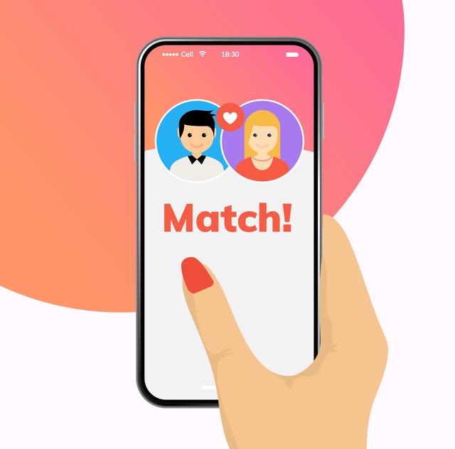 マッチングアプリを操作するイラスト