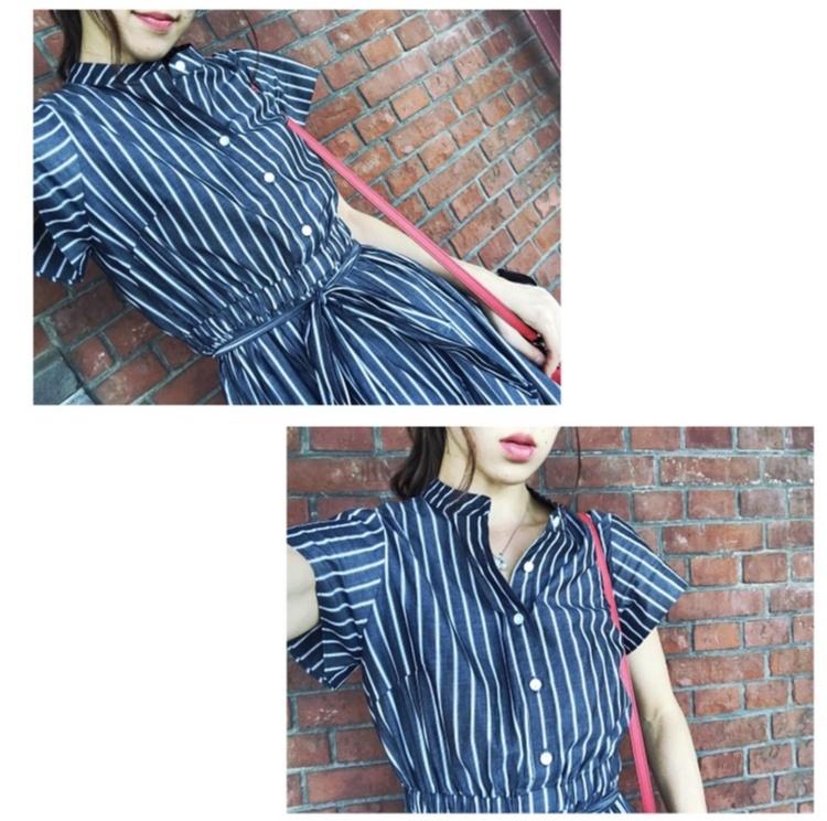 【Fashion】これ1枚でどこへでも♡ストライプシャツワンピコーデ♡_1
