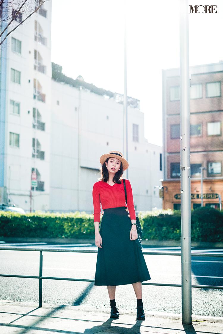 【今日のコーデ】<土屋巴瑞季>気分を上げたい休日はパッと目を引く赤い服でフレンチシック上級者に_1