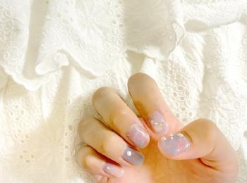 【夏ネイル・マニキュア】セルフジェルネイルで天然石風ネイルに挑戦♡