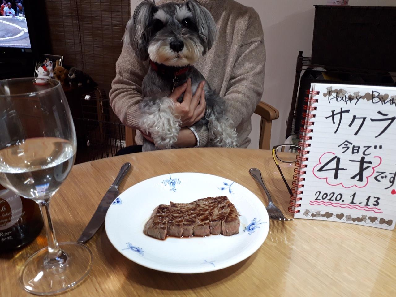 レストランで4才の誕生日を祝うサクラちゃん。