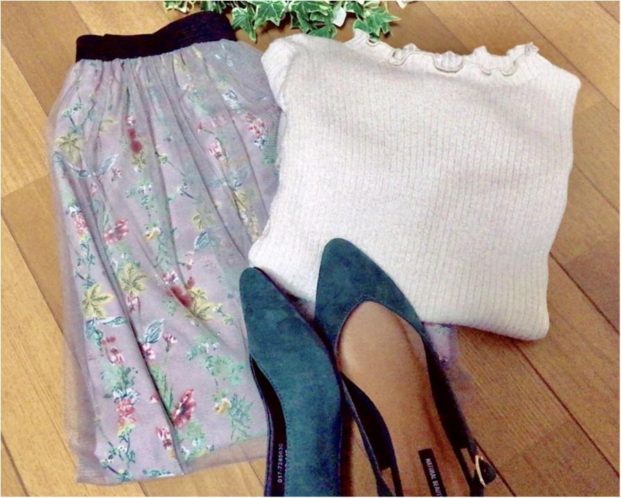 """春コーデに""""透け感""""は必須!【N.Natural Beauty Basic】の《チュールスカート》で春コーデを組んでみました♡♡_1"""