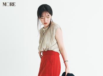 """【今日のコーデ】<唐田えりか>ロングスカートがはきたい日。無難にならない""""赤""""でレディな気分に浸って♡"""