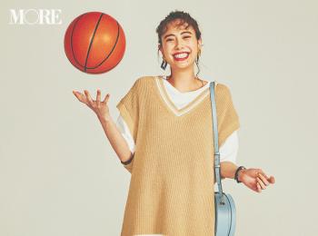 【今日のコーデ】会社の部活でバスケ観戦。カジュアル気分でTシャツワンピにチルデンベストをON! <土屋巴瑞季>