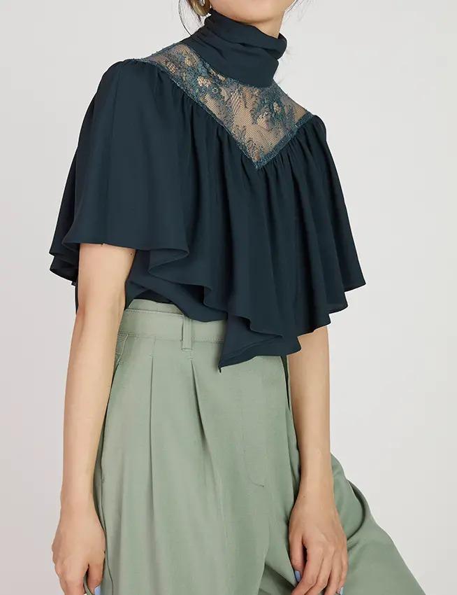 Lace cape blouse