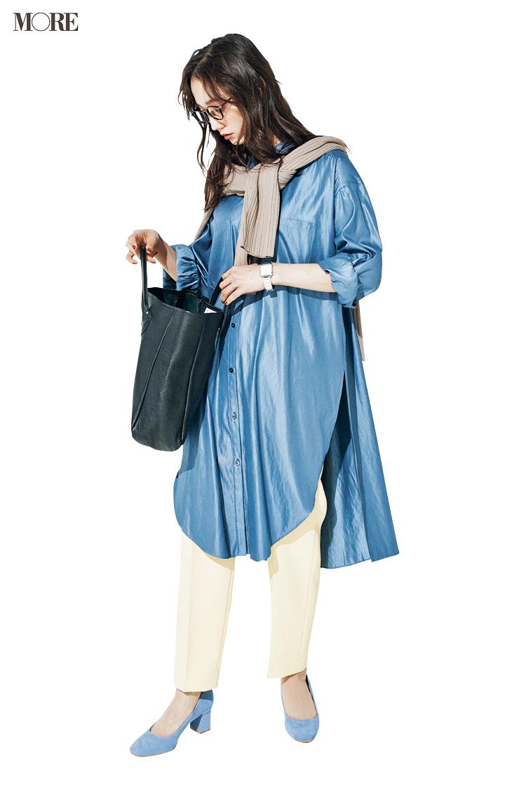 【今日のコーデ】ブルーのロング丈シャツとイエローのパンツの鈴木友菜