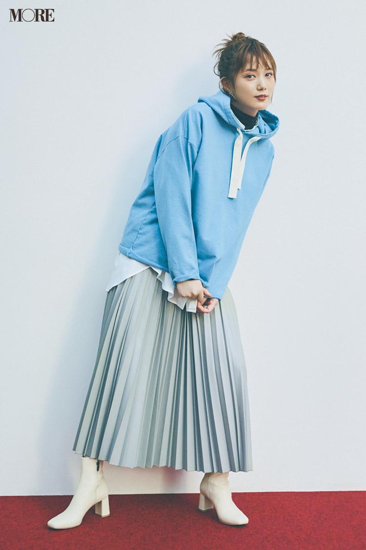 【今日のコーデ】<本田翼>流行のエコレザーに挑戦。プリーツスカートならカジュアル気分!_1