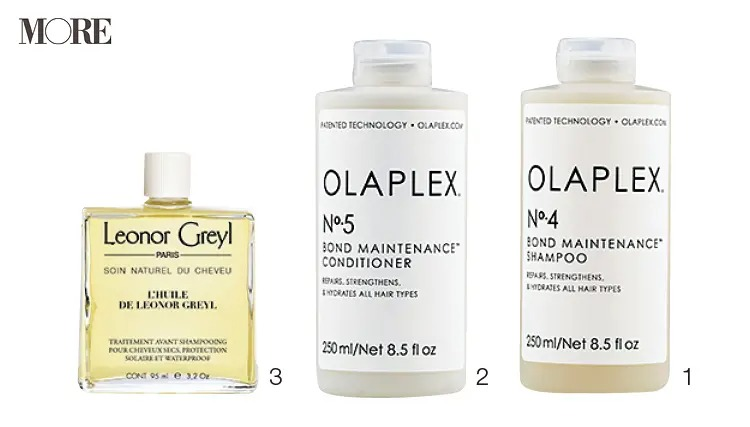 オラプレックスのシャンプー&コンディショナーとレオノールグレユのヘアオイル